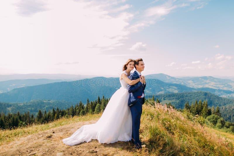 Как раз пожененный портрет красивого держащ один другого на травянистом холме с горами леса и солнечным небом как предпосылка стоковые фото