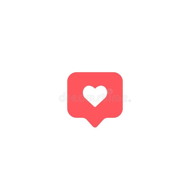 Как символ комментария сердца значка illudtration вектора на белой предпосылке EPS10 иллюстрация штока