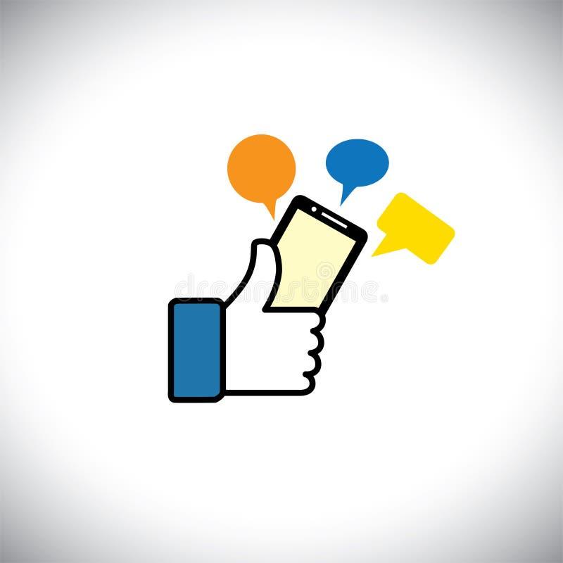 Как символ руки больших пальцев руки вверх с посланием телефона - vector значок иллюстрация вектора