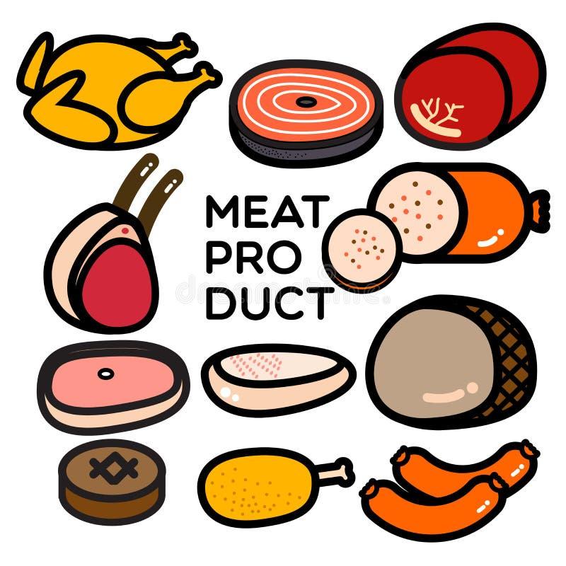 как сосиска мясного продукта предпосылки иллюстрация вектора