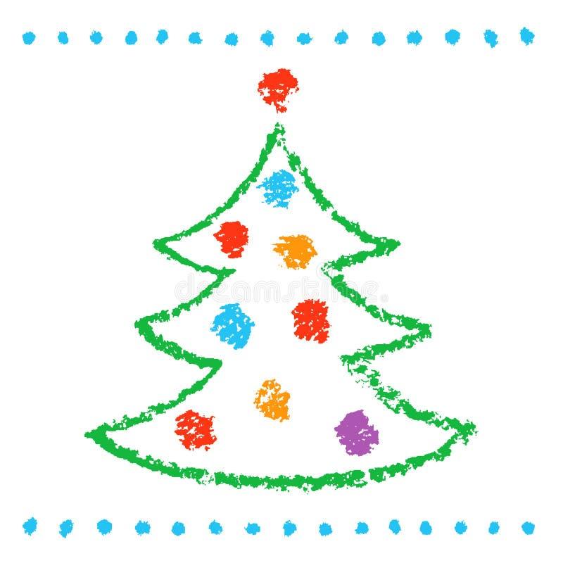 Как childs рисуя рождественскую елку на белизне Стиль хода смешного простого doodle милый художнический бесплатная иллюстрация