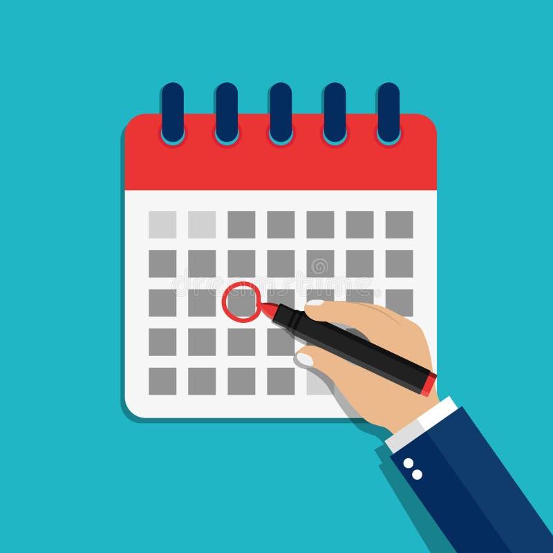 Календарная дата круглая рука Обращение даты календаря маркера Иллюстрация события проверки мультипликации Пометить праздничный д иллюстрация вектора