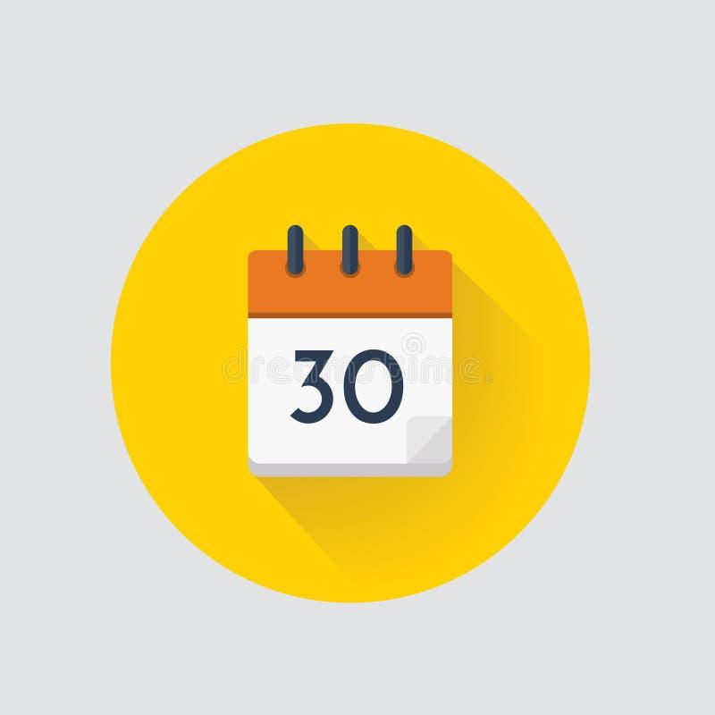 Календарный день 30 вектора calendar икона бесплатная иллюстрация