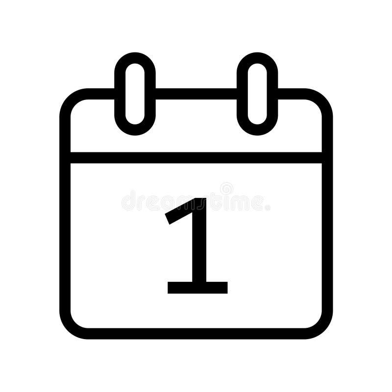 календарный день один значок даты иллюстрация вектора
