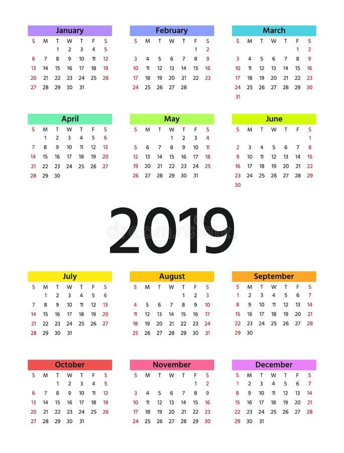 2019 календарных год также вектор иллюстрации притяжки corel Плановик шаблона иллюстрация штока