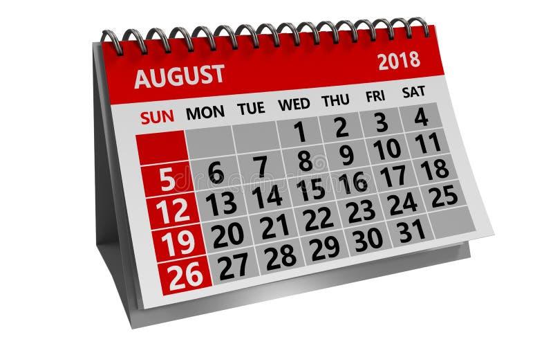 Календарь августа 2018 бесплатная иллюстрация