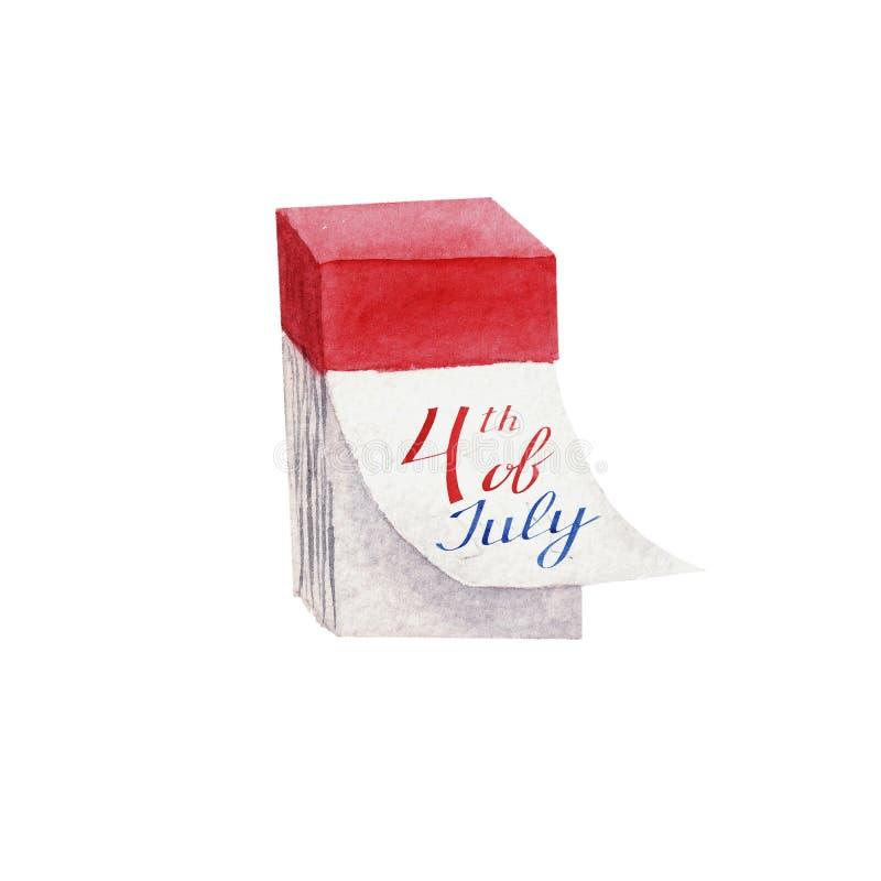 Календарь акварели изолированный на белой предпосылке стоковое изображение