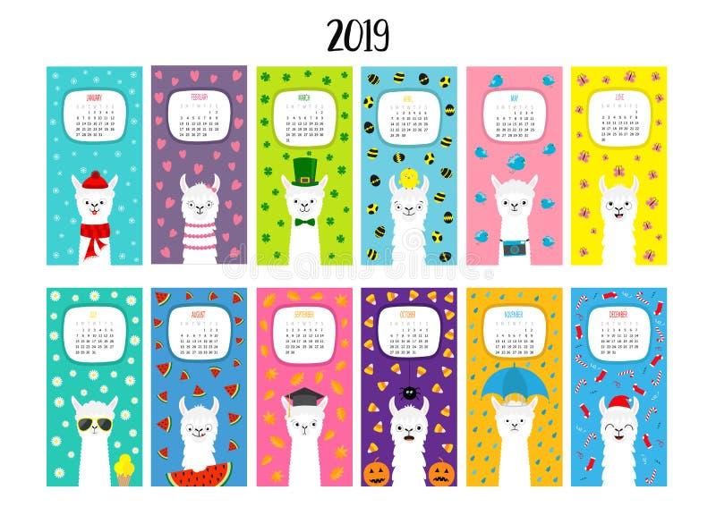 Календарь 2019 альпаки ламы Вертикальная ежемесячность Милый смешной персонаж из мультфильма набор Весь месяц Счастливое рождеств иллюстрация вектора