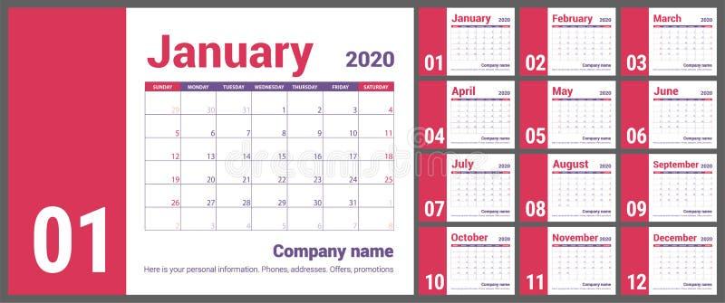 Календарь 2020 Английский календарь Шаблон вектора цвета Старты недели на воскресенье Планированиe бизнеса Плановик Нового Года К бесплатная иллюстрация