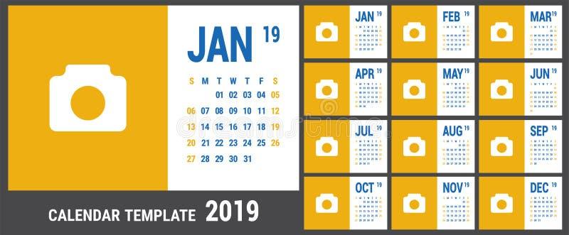 Календарь 2019 Английский шаблон календаря Решетка вектора Бушель офиса иллюстрация вектора