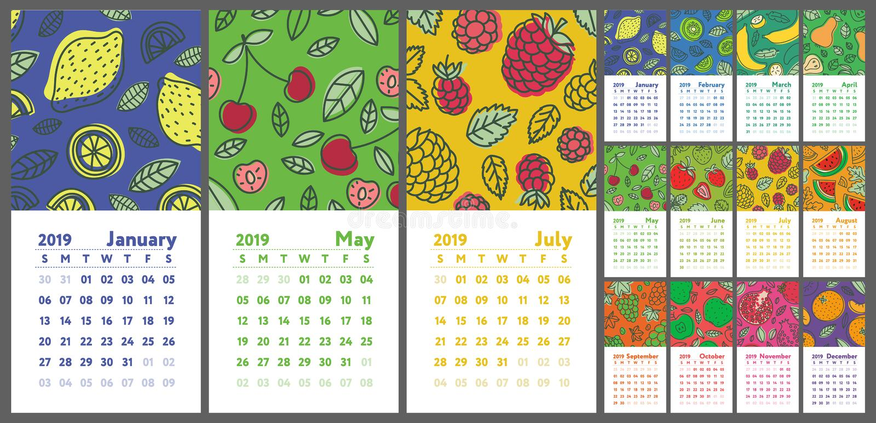 Календарь 2019 Календарь английского языка вектора вычерченная рука Плодоовощи, berr иллюстрация штока