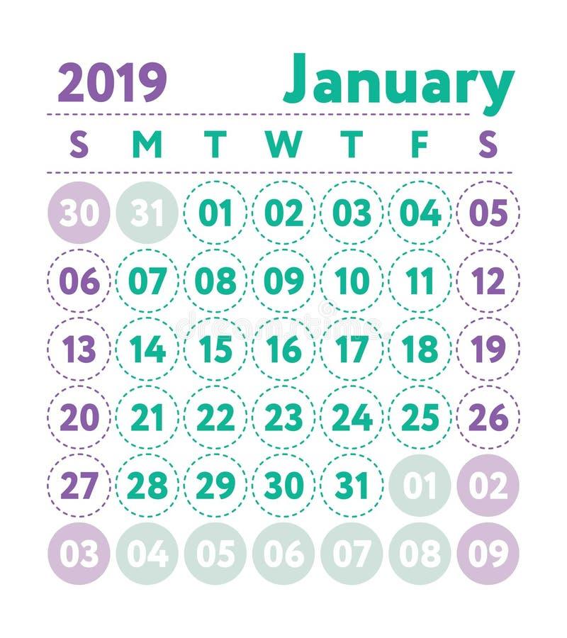 Календарь 2019 Календарь английского языка вектора Месяц в январе Звезда недели стоковое фото