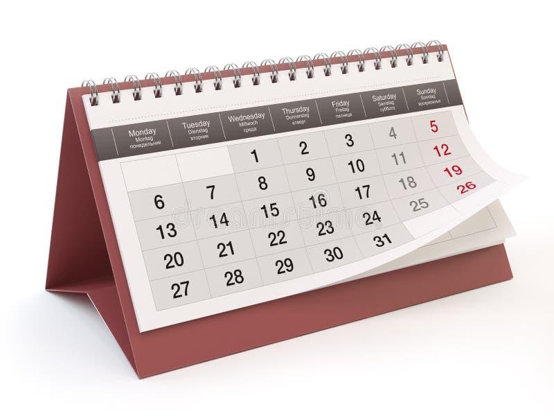 Календарь, белая предпосылка, иллюстрация 3D бесплатная иллюстрация