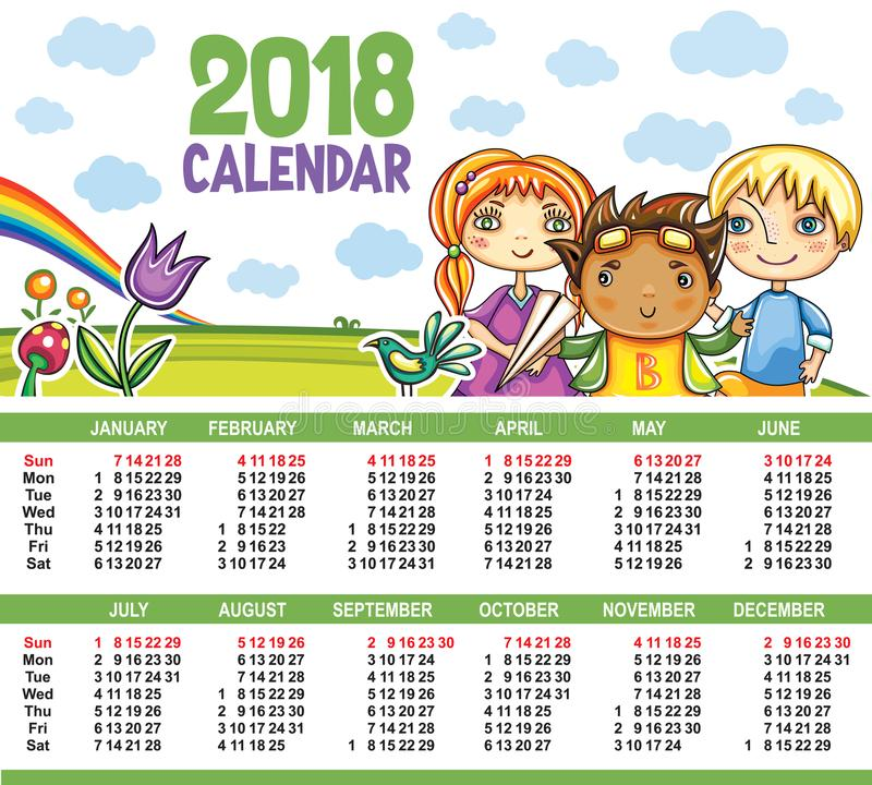 Календарь вектора 2018 год иллюстрация вектора