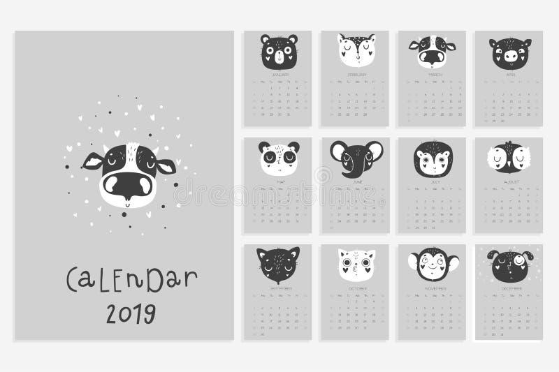 Календарь 2019 Вектор запаса Потеха и милый календарь с животными нарисованными рукой в черно-белых цветах иллюстрация штока