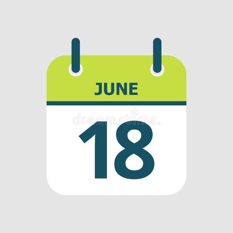 Календарь восемнадцатое -го июнь иллюстрация штока