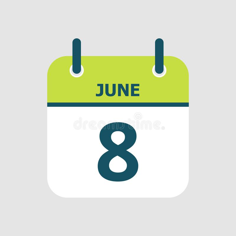 Календарь восьмое -го июнь бесплатная иллюстрация