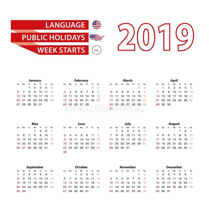 Календарь 2019 в английском языке с праздничными днями соединяет иллюстрация вектора