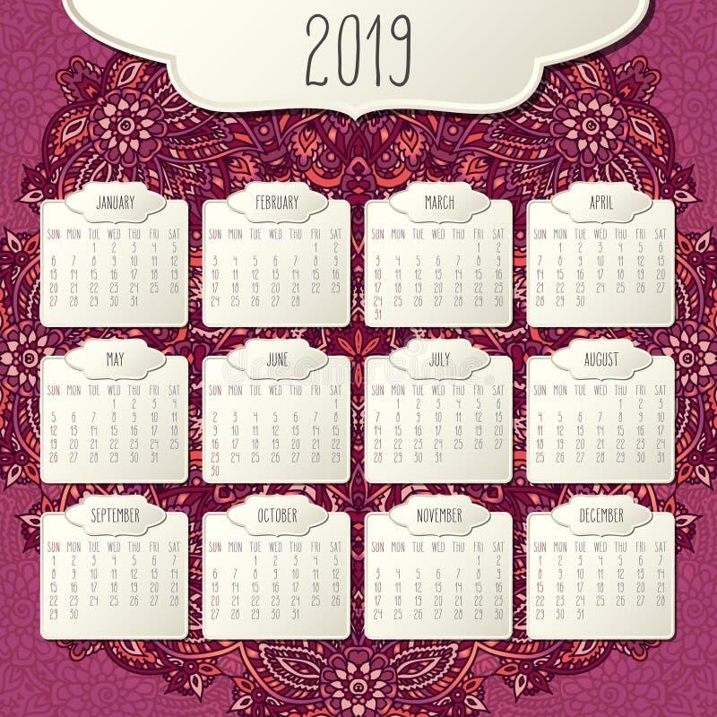 Календарь года 2019 ежемесячный иллюстрация штока