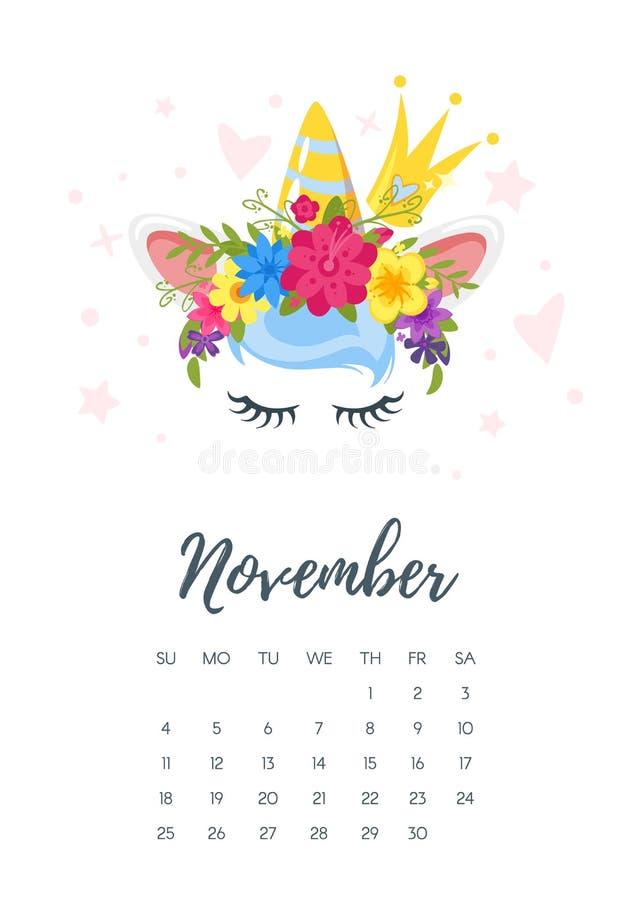 Календарь года ноября 2018 бесплатная иллюстрация