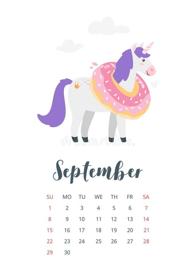 календарь 2019 год ежемесячный иллюстрация вектора