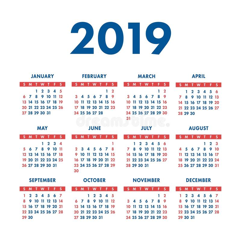 Календарь 2019 год Карманный квадратный календарь Подготавливайте дизайн Красный цвет бесплатная иллюстрация