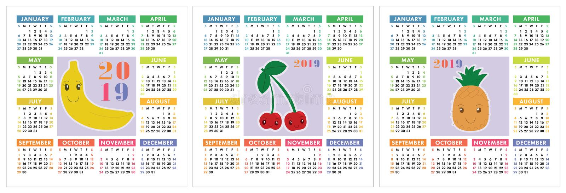 Календарь 2019 год Красочный комплект английского языка Усмехаясь плодоовощи, berrie иллюстрация вектора