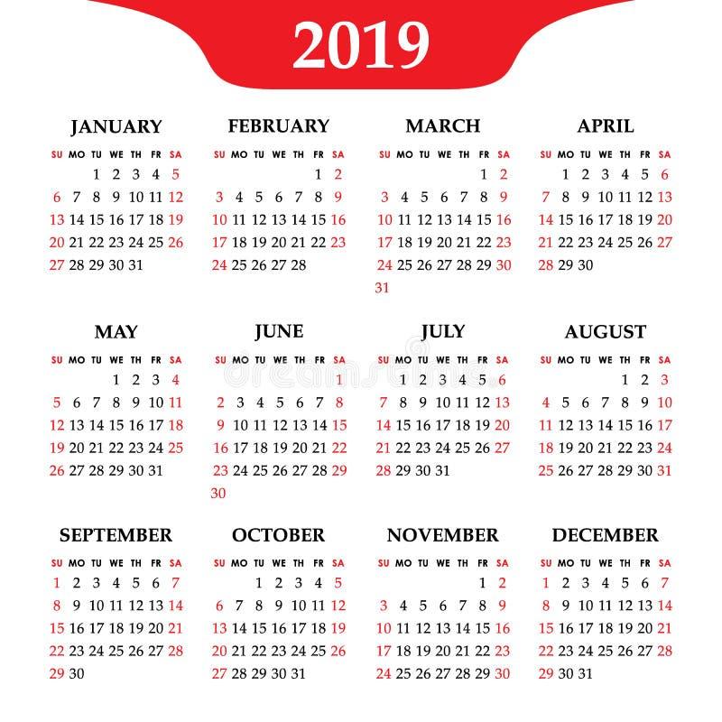 Календарь 2019 год на белой предпосылке Неделя начинает воскресенье бесплатная иллюстрация