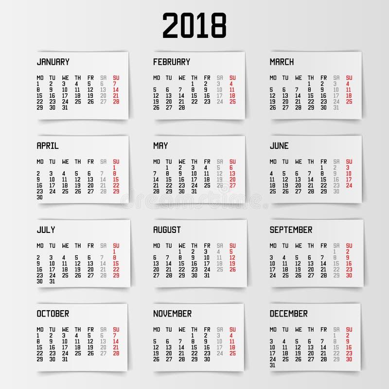 Календарь 2018 год также вектор иллюстрации притяжки corel иллюстрация вектора