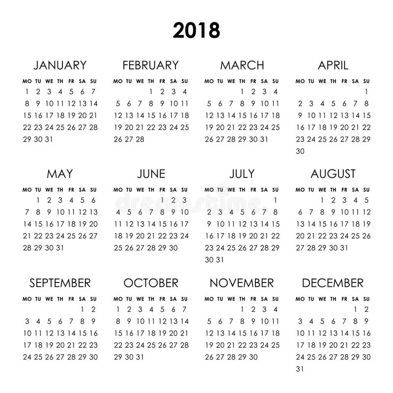 Календарь 2018 год иллюстрация штока