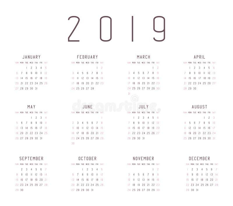 Календарь 2019 год бесплатная иллюстрация