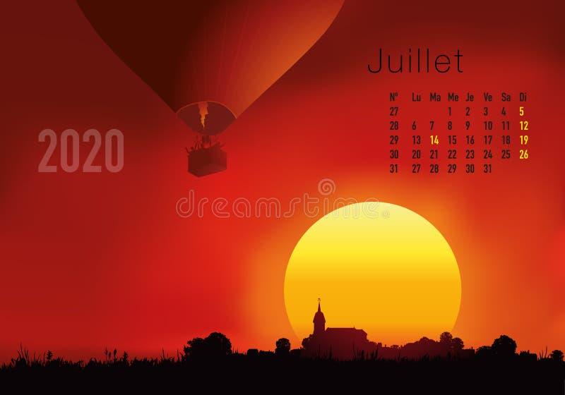 календарь 2020 готовый для печати во французской версии, показывая заходы солнца на ландшафтах overflighted воздушными шарами иллюстрация штока