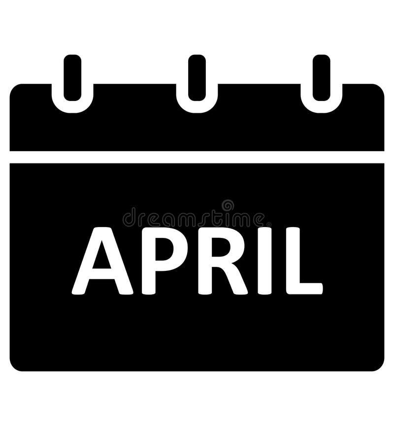 Календарь -го апрель, изолировал значок вектора который может легко доработать или отредактировать иллюстрация вектора