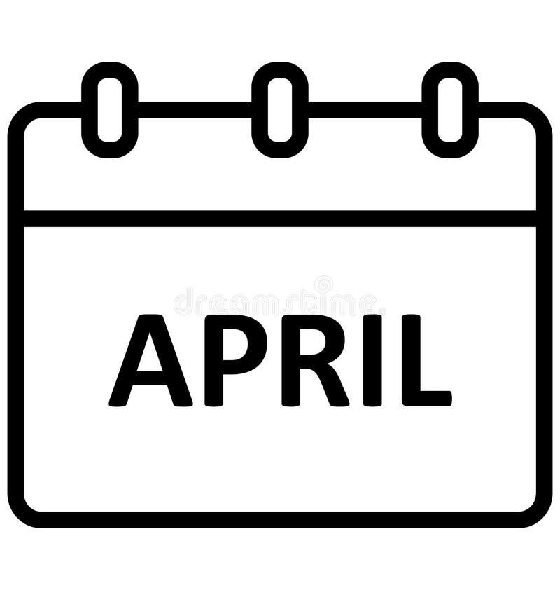 Календарь -го апрель, изолировал значок вектора который может легко доработать или отредактировать бесплатная иллюстрация