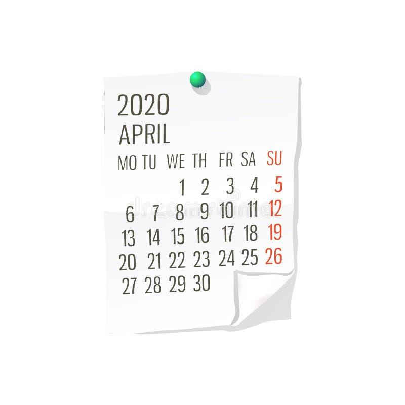 Календарь 2020 -го в апреле иллюстрация вектора