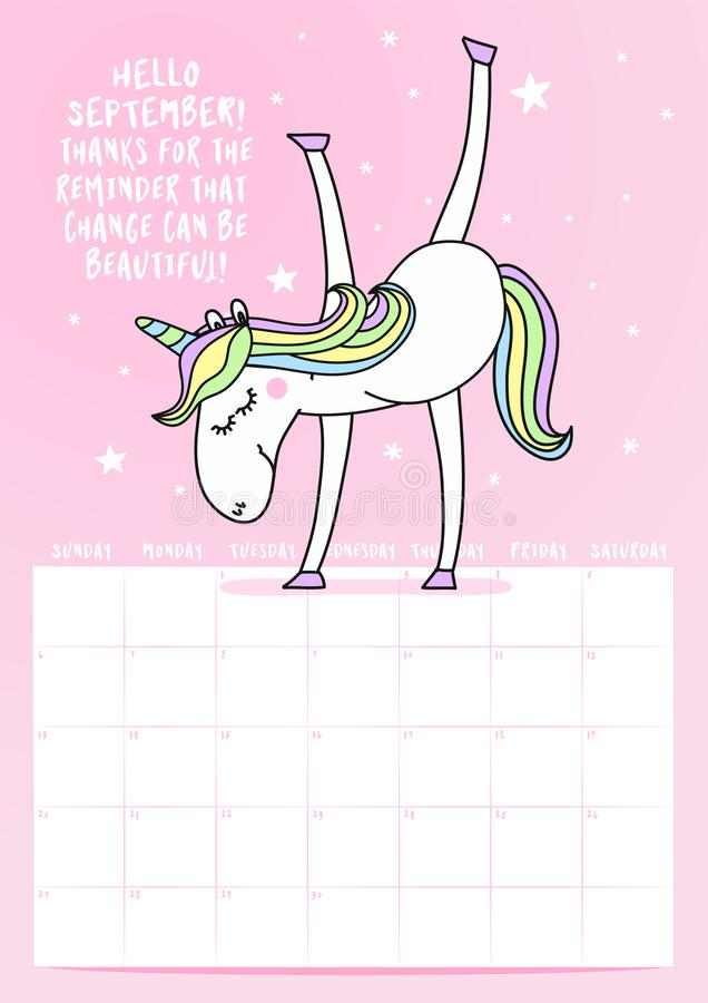 Календарь 2020 -го в сентябре с фразой каллиграфии и doodle единорога бесплатная иллюстрация