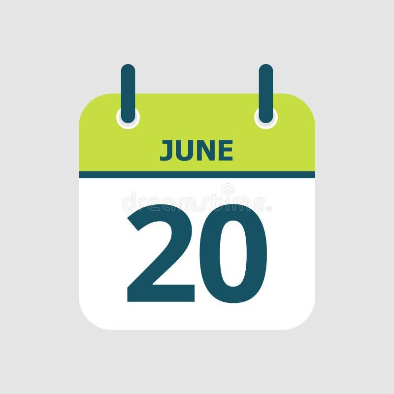 Календарь двадцатое -го июнь иллюстрация вектора