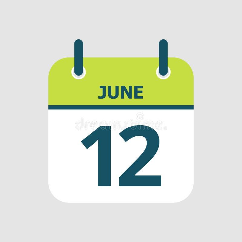 Календарь двенадцатое -го июнь иллюстрация вектора