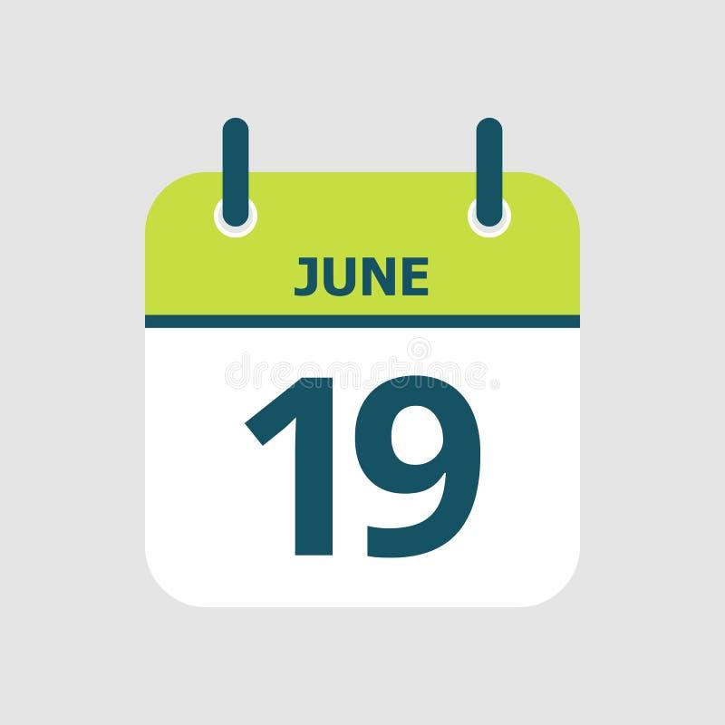 Календарь девятнадцатое -го июнь бесплатная иллюстрация