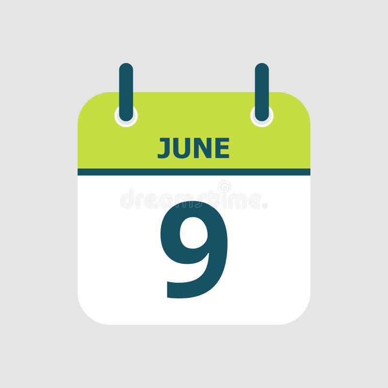 Календарь девятое -го июнь бесплатная иллюстрация