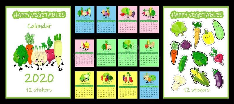 Календарь 2020 детей Неделя СОБРАНИЯ ОВОЩА вектора начинает в ВОСКРЕСЕНИИ 12 месяца на страницах SEPARATE r иллюстрация вектора