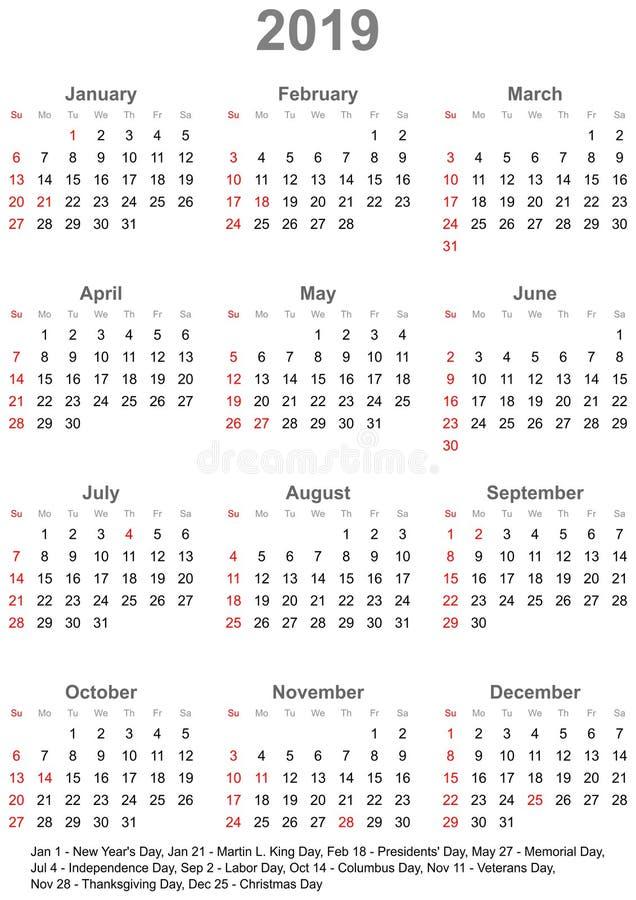 Календарь 2019 для США - неделя начинает в воскресенье иллюстрация вектора