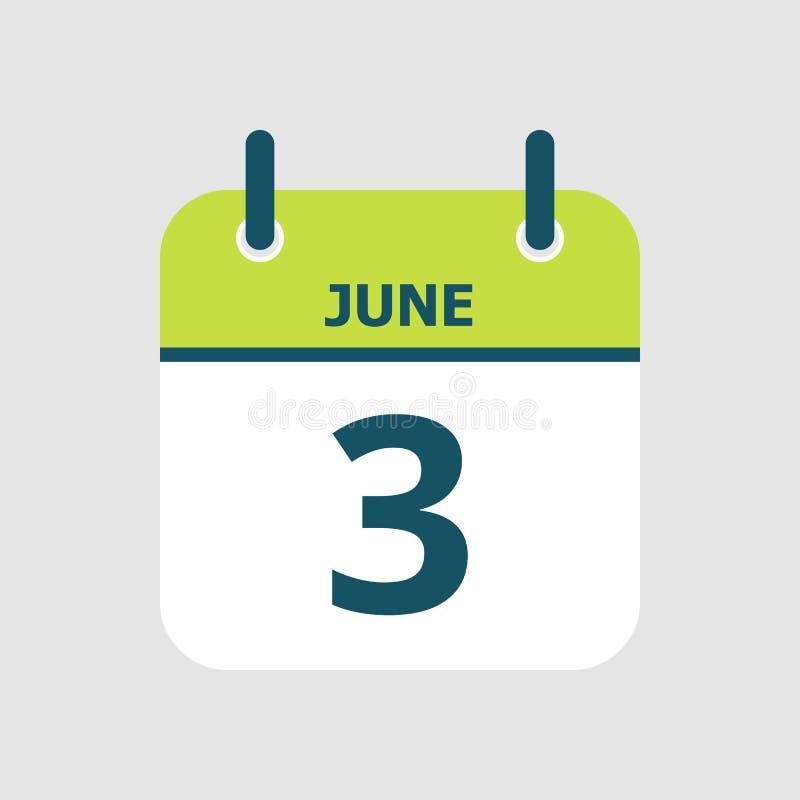 Календарь 3-ее -го июнь иллюстрация вектора