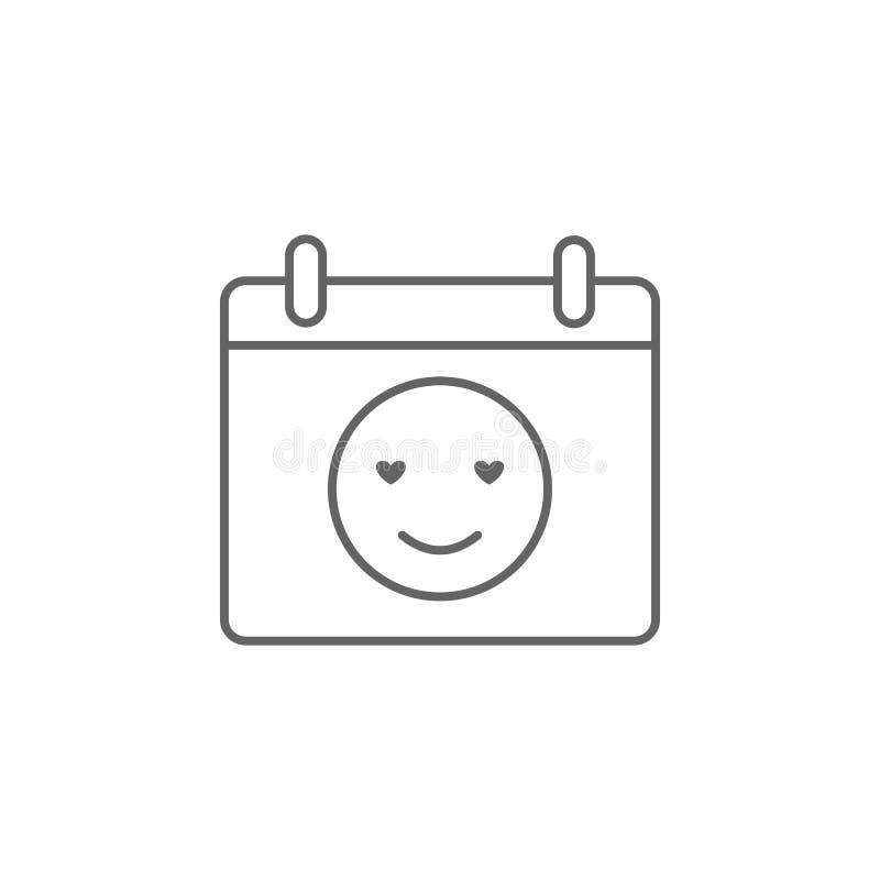 Календарь, значок улыбки Элемент значка приятельства E r иллюстрация вектора