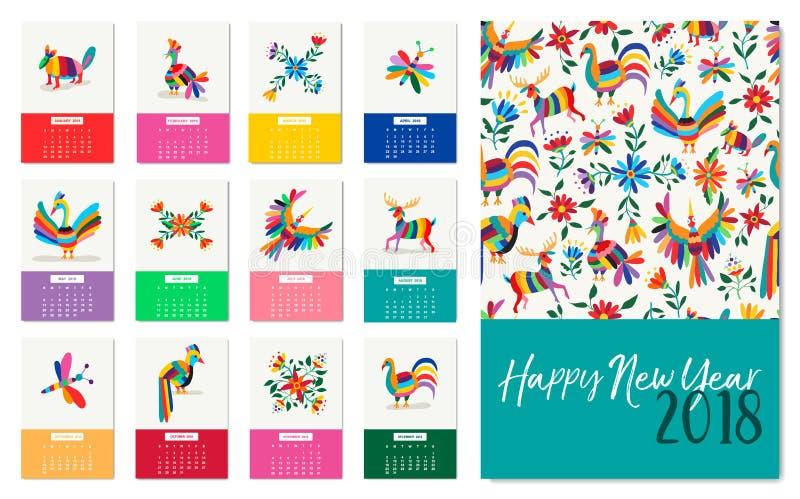 Календарь искусства Нового Года 2018 красочный мексиканский животный иллюстрация вектора