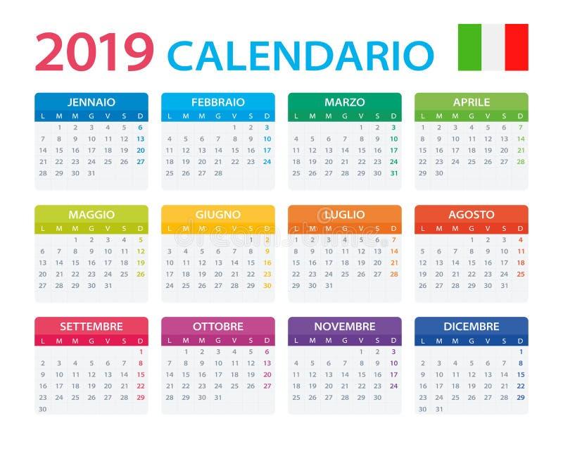 Календарь 2019 - итальянская версия иллюстрация штока
