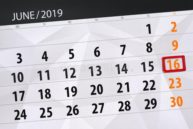 Календарь июнь 2019, 16, воскресенье иллюстрация штока