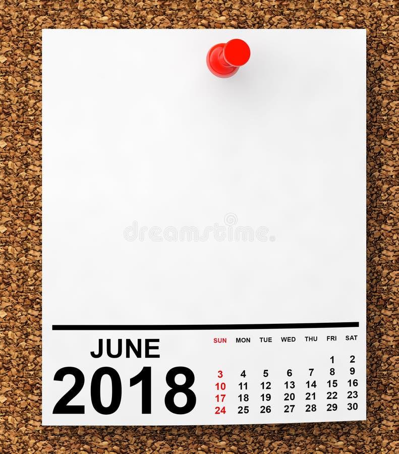 Календарь июнь 2018 перевод 3d стоковые фотографии rf