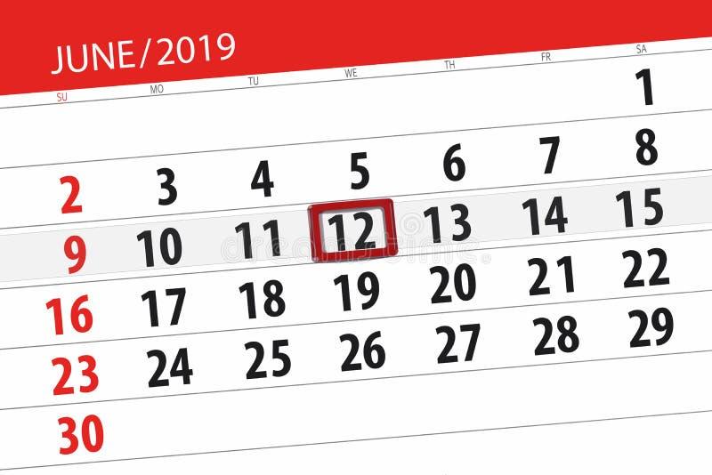 Календарь июнь 2019, 12, среда стоковые фотографии rf