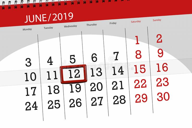 Календарь июнь 2019, 12, среда стоковые фото